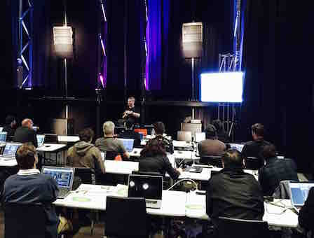 Photo: d&b audiotechnik classroom training taking place at NAS's Melbourne training facility with Gert Sanner from d&b's APAC office in Singapore.